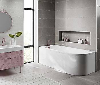 Cooke & Lewis J-Curved LH bath with panel