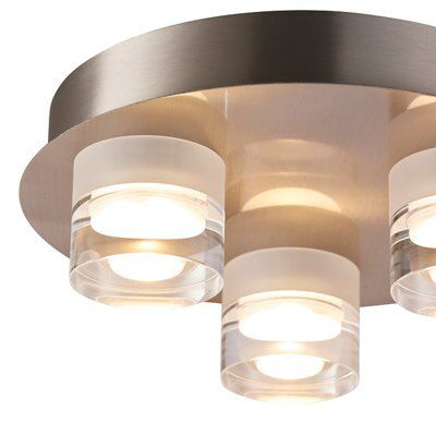 Picture of: Reece Chrome Effect 3 Lamp Flush Ceiling Light Departments Diy At B Q