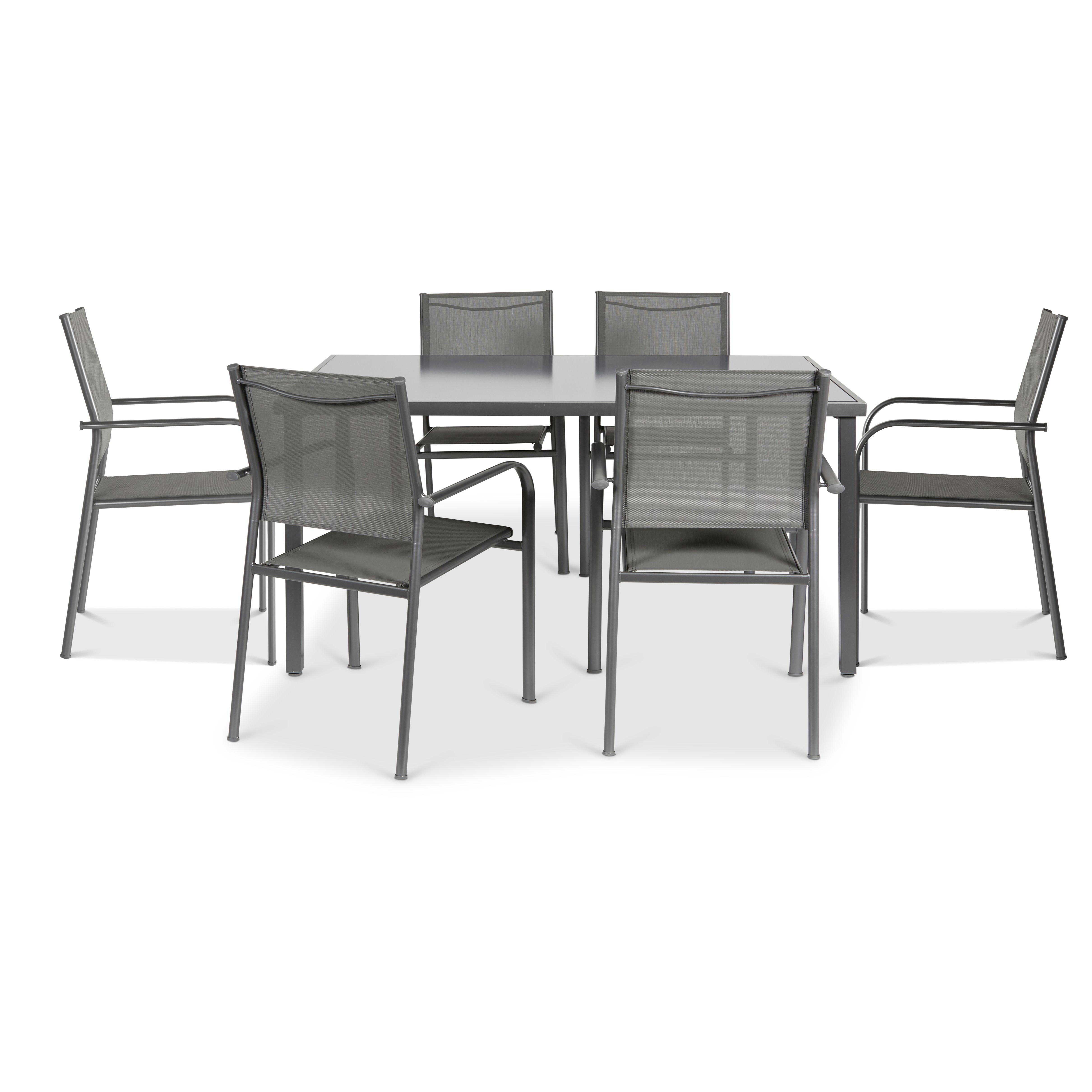Sensational Dallas Metal 6 Seater Dining Set Departments Diy At Bq Creativecarmelina Interior Chair Design Creativecarmelinacom