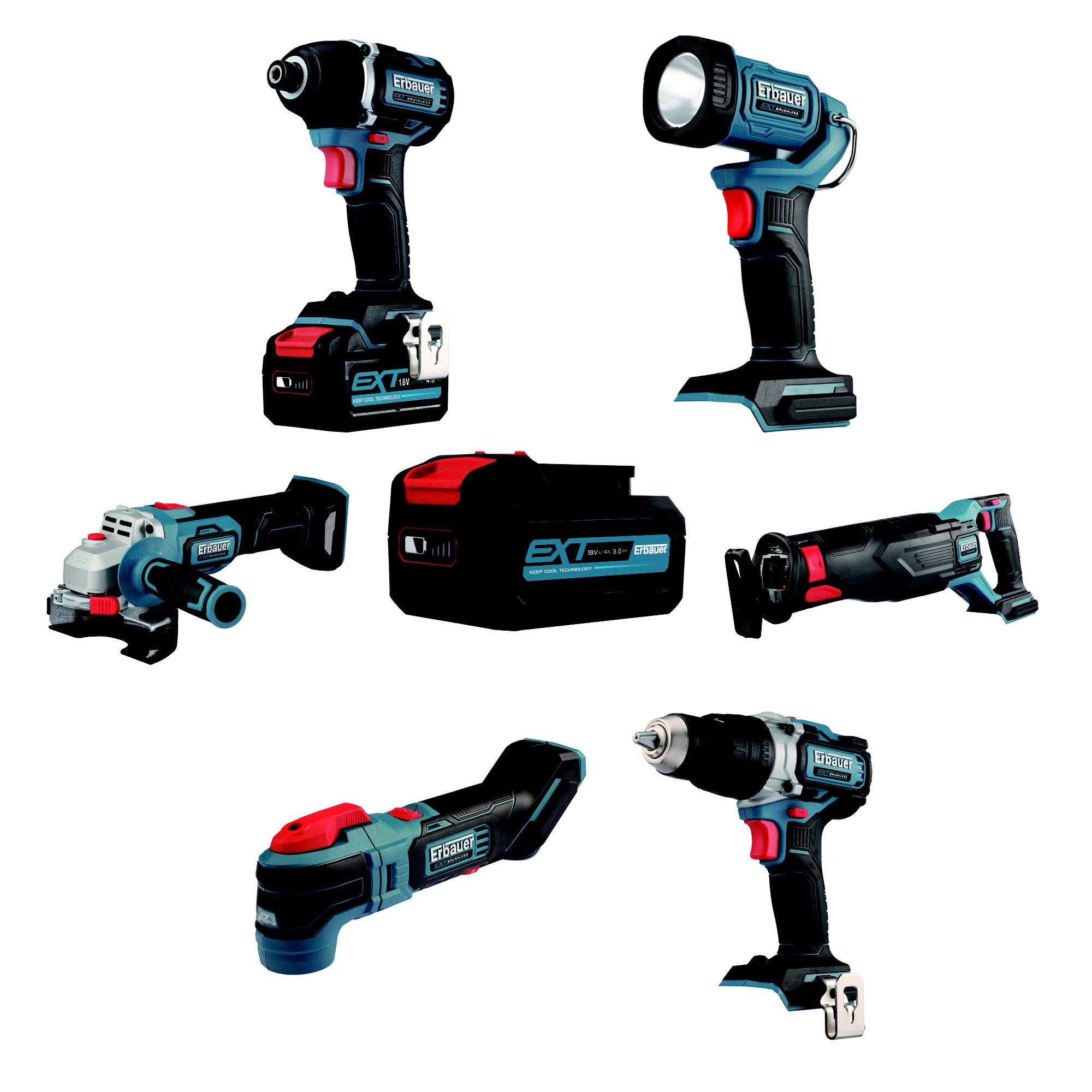 Erbauer 6 Piece Brushless Cordless Tool Kit | Departments | DIY at B&Q