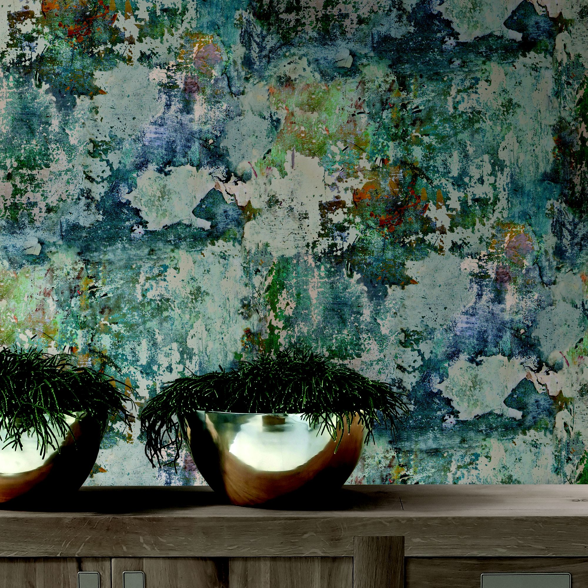 Goodhome Nivosa Teal Coloured Concrete Imitation Wallpaper
