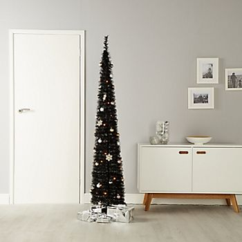 6ft Pop up Pre-lit and Pre-decorated Black Artificial Christmas tree