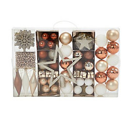 Assorted Champagne, copper & white Decoration, Pack of