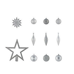 Assorted Silver effect Decorations, Pack of 50