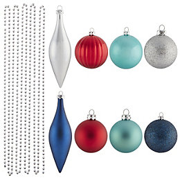 Assorted Blue, red, silver & turquoise Decoration, Pack