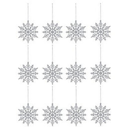 Glitter Silver effect Snowflake Decorations, Pack of 12