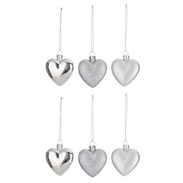 Assorted Silver effect Heart Decorations, Pack of 6