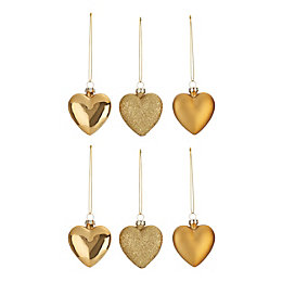 Assorted Gold effect Heart Decorations, Pack of 6