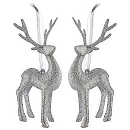 Glitter Silver effect 3D Reindeer Decorations, Pack of