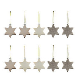 Assorted Champagne Star Decorations, Pack of 10