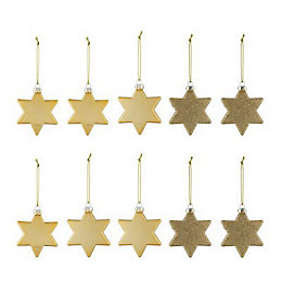 Assorted Gold effect Star Decorations, Pack of 10