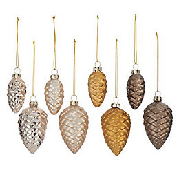 Assorted Brown Pine cone Decorations, Pack of 8