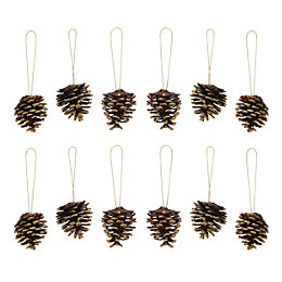 Glitter gold effect Pine cone Decorations, Pack of