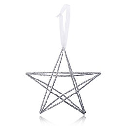 Glitter Silver effect Wire Star Decoration