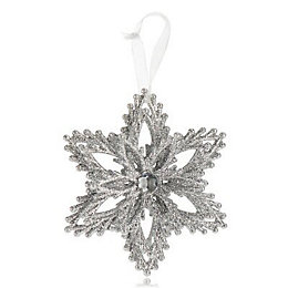 Glitter Silver effect Jewelled centre snowflake Decoration