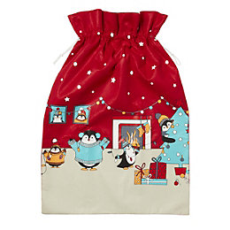 Red Penguin family Sack