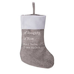 Grey Naughty or Nice Stocking