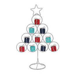 Silver & blue Glitter Wire Table top tree