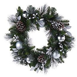 50cm Silver effect Berry & pine cone Wreath