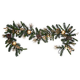 11cm 1.83m Gold effect Berry & pine cone