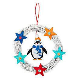 25cm Multicolour Penguin Wreath