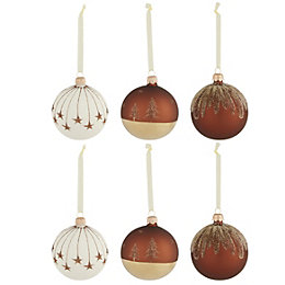 Glitter Copper effect Glass Bauble, Pack of 6