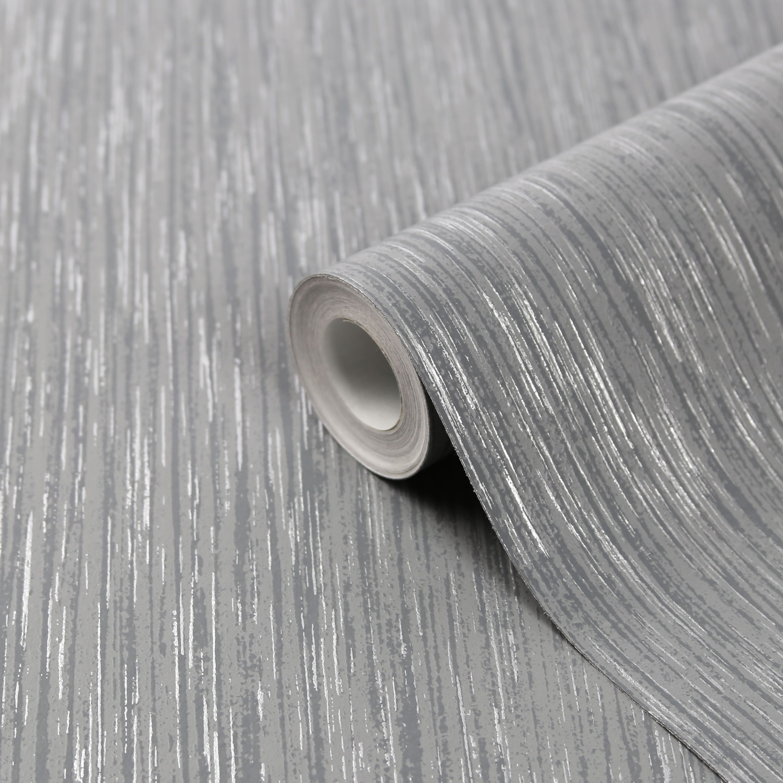 Goodhome Ciral Dark Grey Striped Metallic Effect Textured