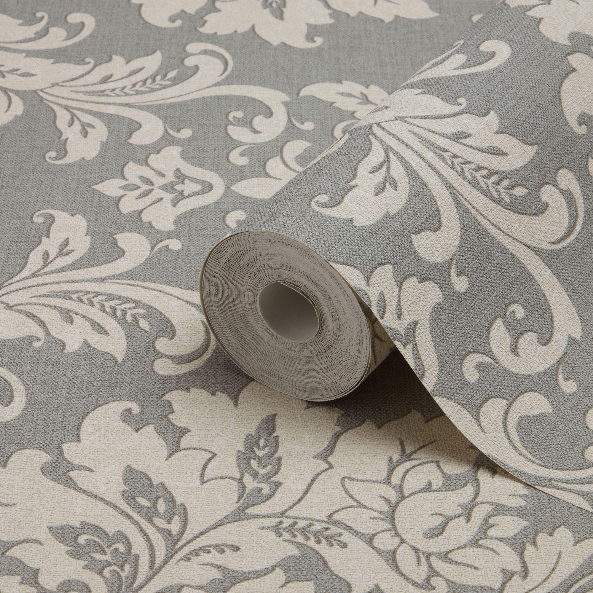 GoodHome Mire Grey Damask Wallpaper   Departments   DIY at B&Q