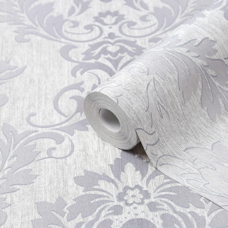 Goodhome Phacelia Grey Damask Textured Wallpaper Departments