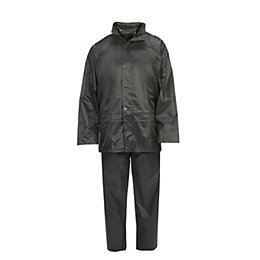 Green Hooded Jacket & Trouser Rain Suit Large