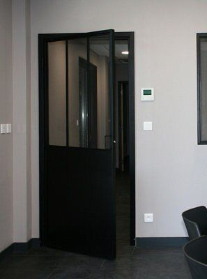 Industrial Metal effect Black Interior Swinging doorset,