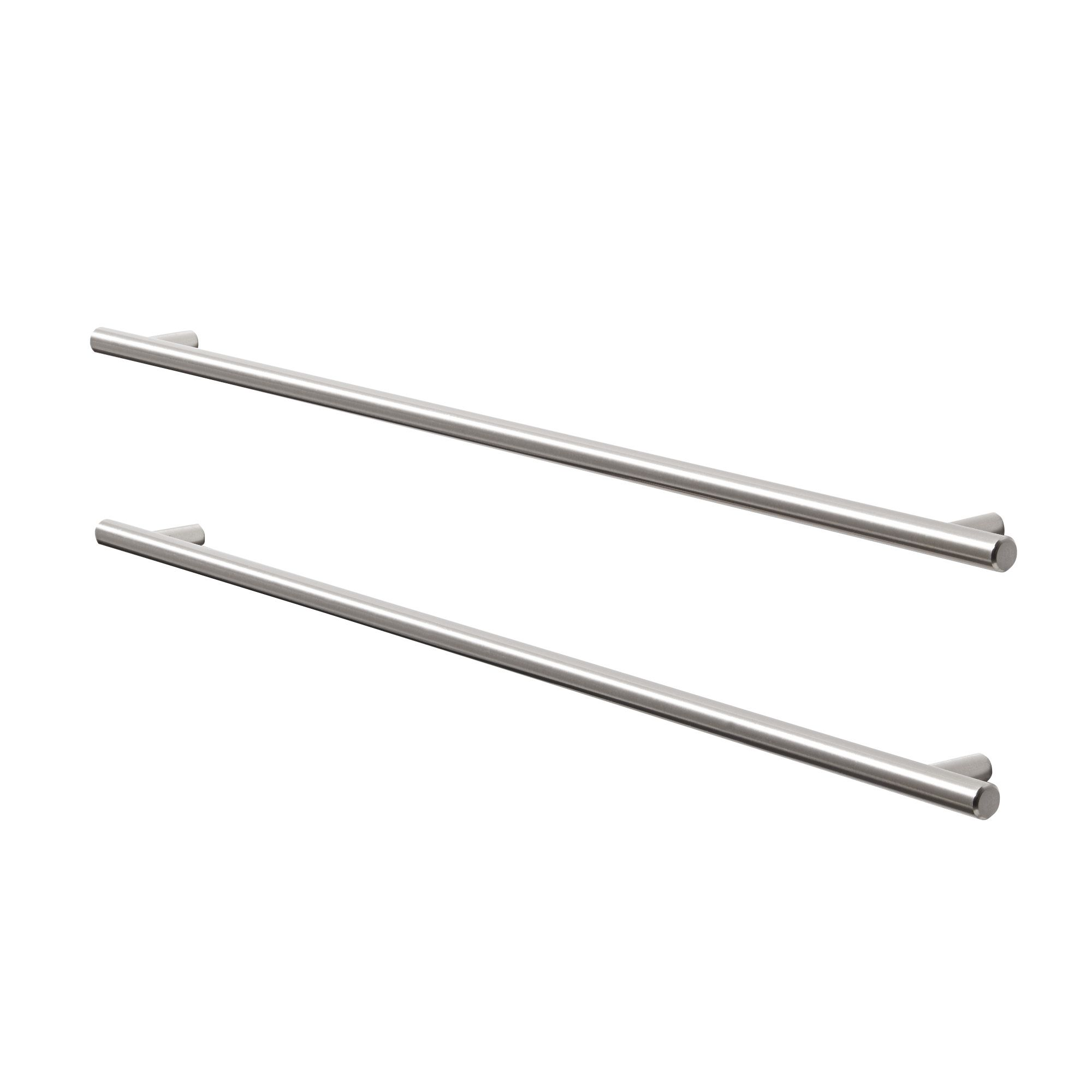 L 497mm Pack of 2 B/&Q Brushed Nickel Straight Cupboard Handle