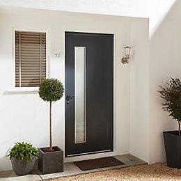 Contemporary Grey Aluminium Glazed External Front door &