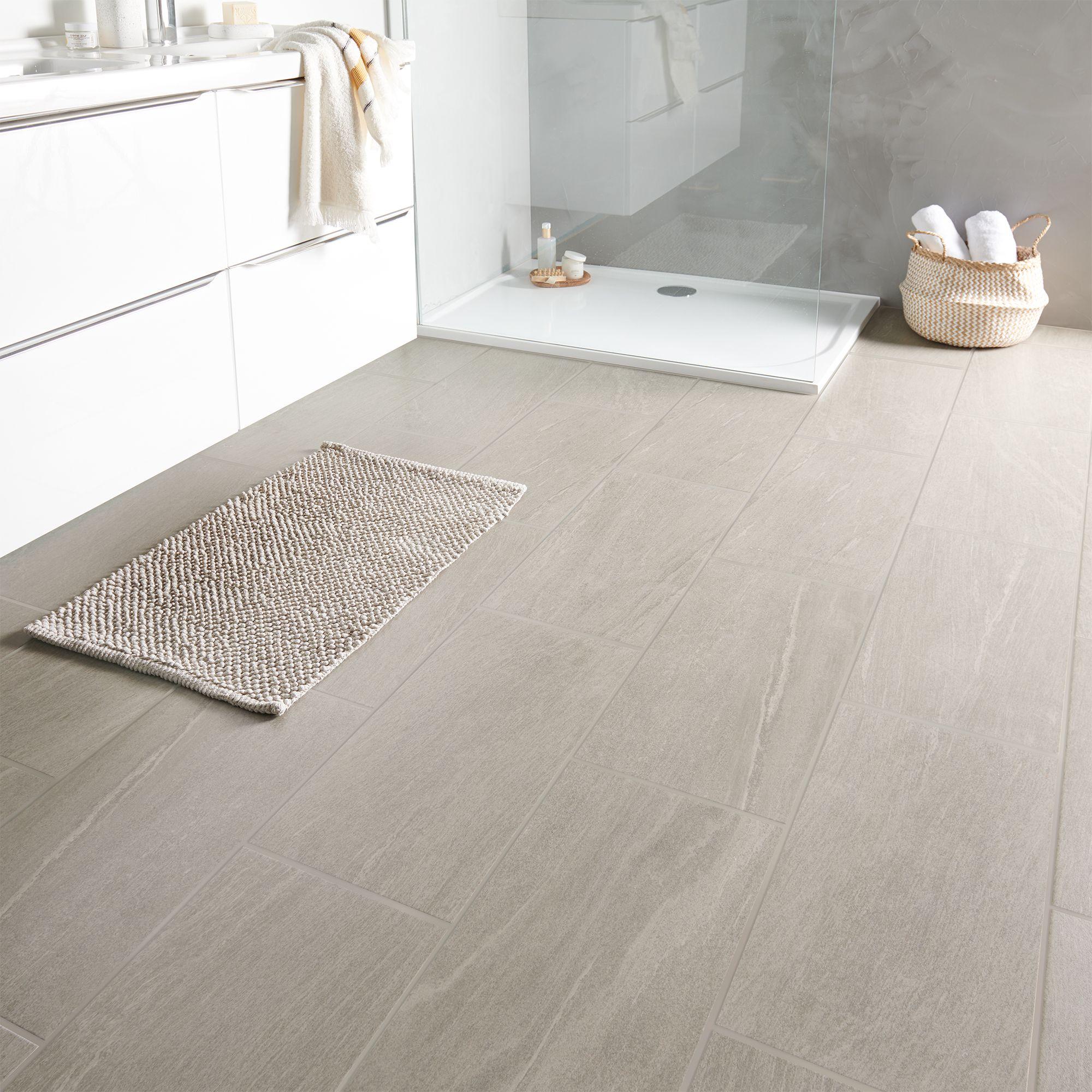 Natural Greige Satin Stone Effect Porcelain Floor Tile Pack Of 6