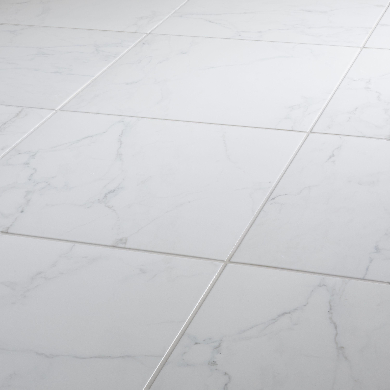 Elegance White Gloss Marble Effect Ceramic Floor Tile