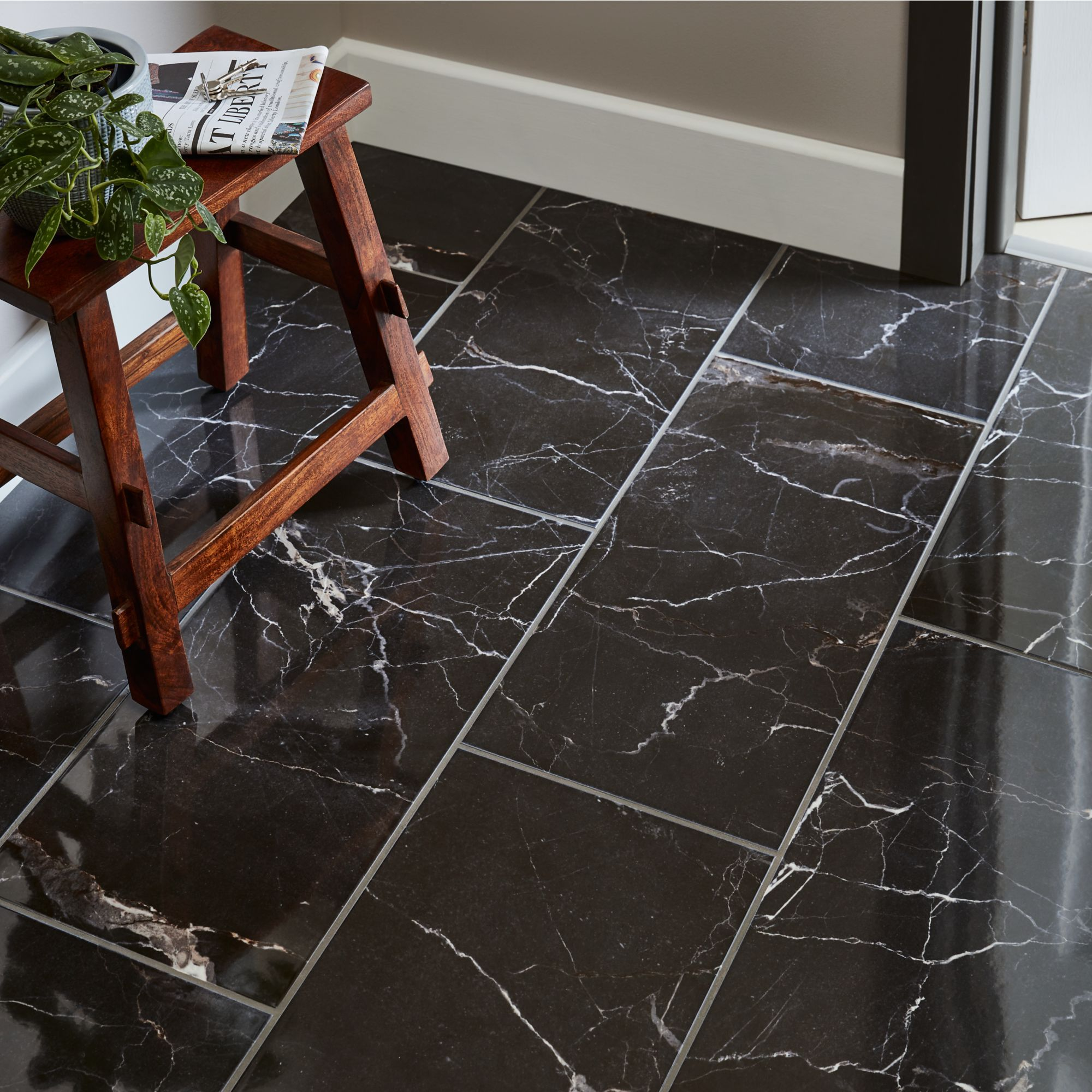 Elegance Black Gloss Marble Effect Ceramic Floor Tile