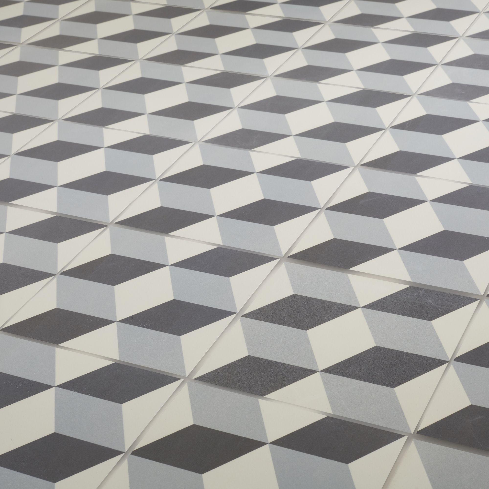 Hydrolic Black & white Matt Concrete Porcelain Floor tile, Pack of ...