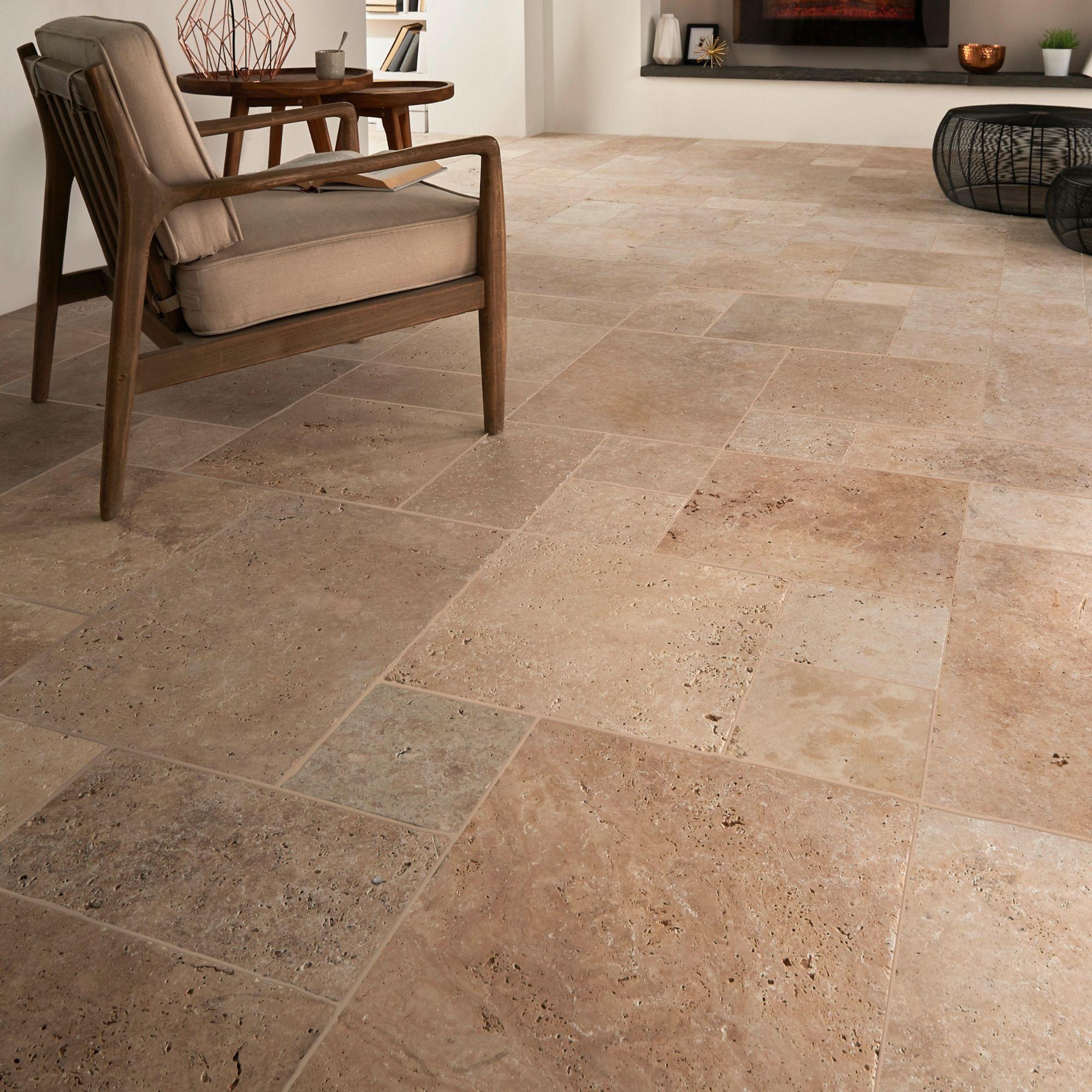 Tumbled Travertine Cream Matt Stone Effect Natural Stone Floor Tile Pack Of 6 L 610mm W 406mm Departments Diy At B Q
