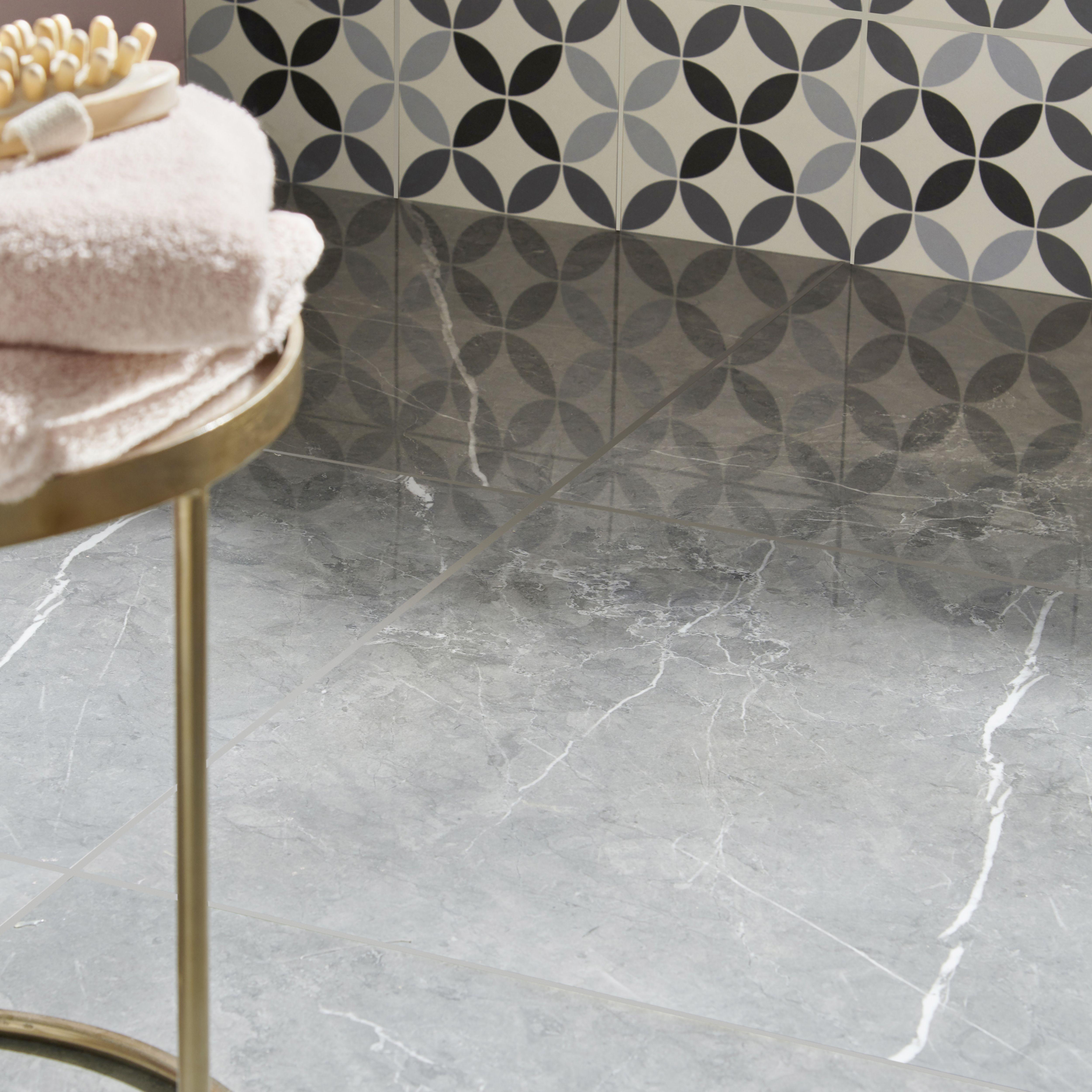 Ultimate Grey Marble Effect Porcelain Floor Tile Pack Of 3 L