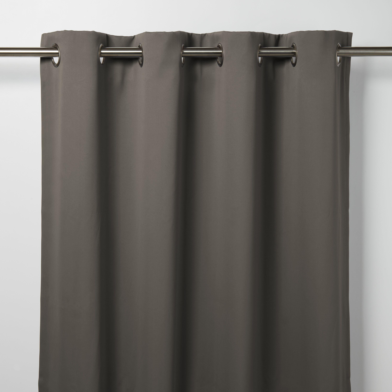 Vestris Dark Grey Plain Blackout Eyelet Curtain W 167cm
