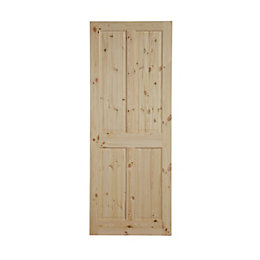 4 Panel Knotty pine Internal Standard Door, (H)2040mm