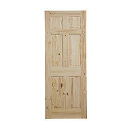 6 Panel Knotty pine Internal Standard Door, (H)1981mm