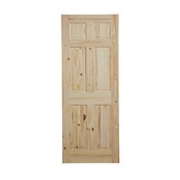 6 Panel Knotty pine Internal Standard Door, (H)2040mm