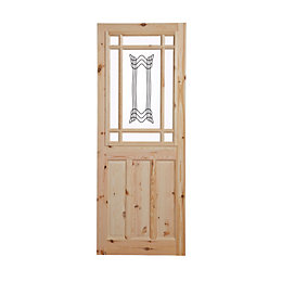 2 Panel Knotty pine Internal Standard Door, (H)2032mm