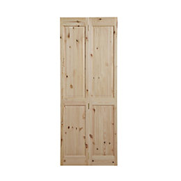 4 Panel Knotty pine Unglazed Internal Bi-fold Door,