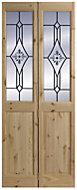 4 Panel Knotty pine Glazed Internal Bi-fold Door, (H)2040mm (W)726mm