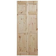6 Panel Knotty pine Unglazed Internal Bi-fold Door, (H)1981mm (W)686mm