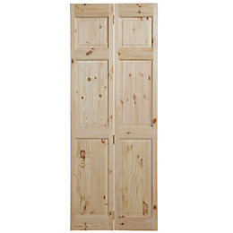 6 Panel Knotty pine Unglazed Internal Bi-fold Door,