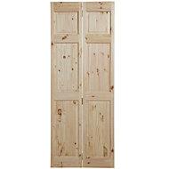 6 Panel Knotty pine Unglazed Internal Bi-fold Door, (H)1981mm (W)762mm
