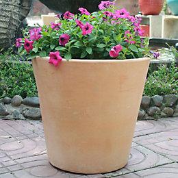 Mali Round Terracotta White washed Pot (H)500mm (Dia)530mm